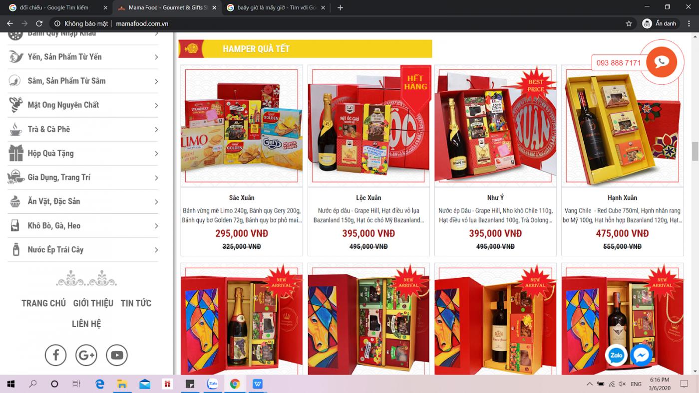 giá và mẫu quà tết online