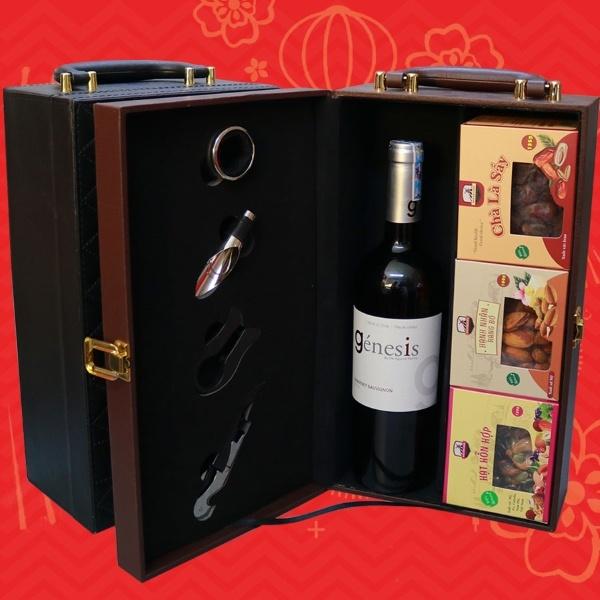 Hộp quà rượu vang biếu tết
